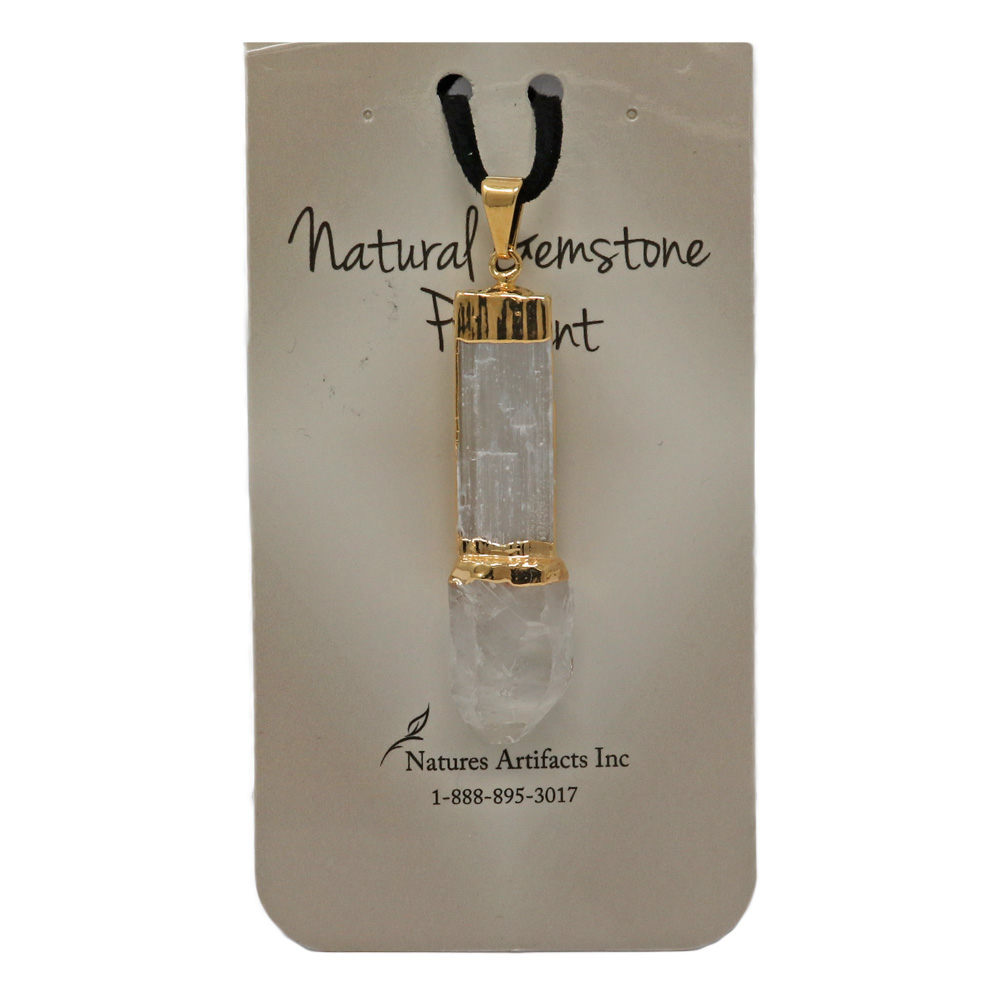 BP112 - Selenite Pendant With Crystal Point