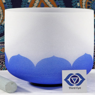 SBQCA - Frosted Quartz Crystal Singing Bowl: A Third Eye/Cobalt- Dark Blue /LA