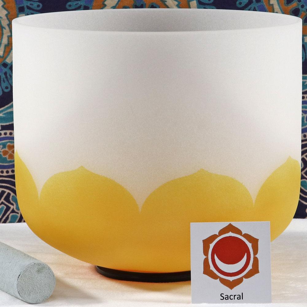 SBQCD - Frosted Quartz Crystal Singing Bowl: D Sacral/Orange RE