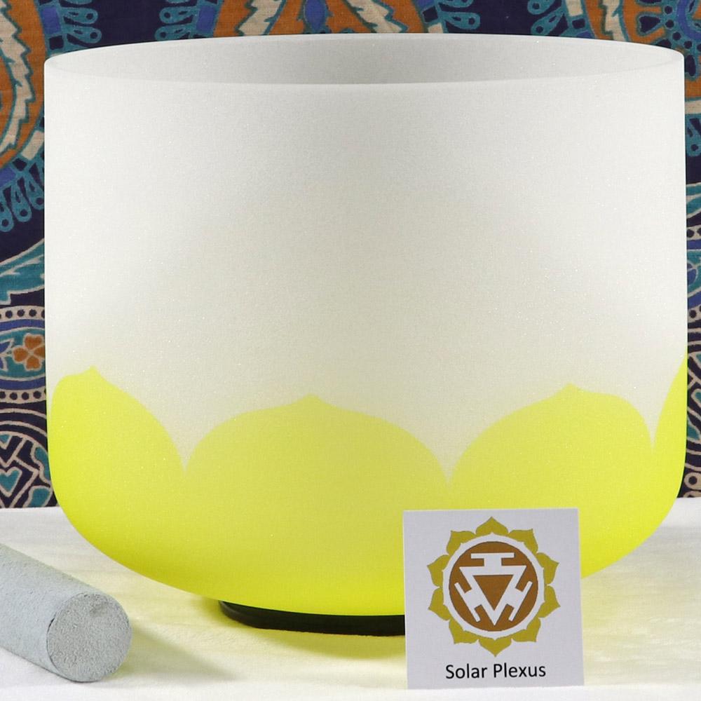 SBQCE - Frosted Quartz Crystal Singing Bowl: E Solar Plexus/Yellow MI