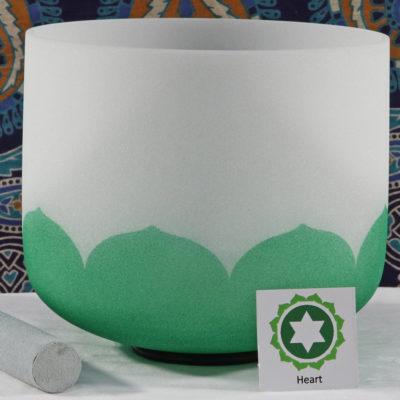 SBQCF - Frosted Quartz Crystal Singing Bowl: F Heart/Green FA