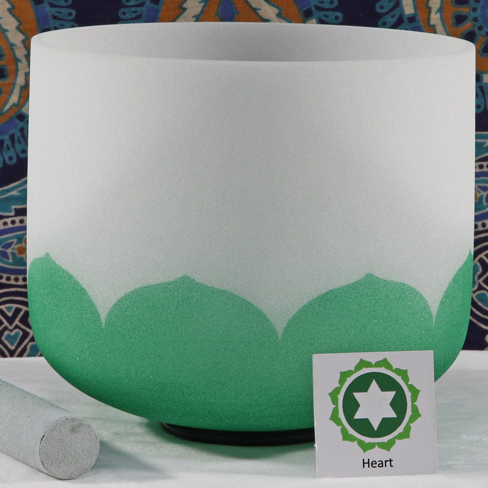 SBQCF - Frosted Quartz Crystal Singing Bowl: F Heart/Green FA