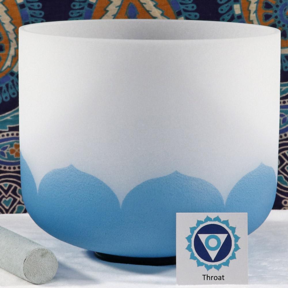 SBQCG - Frosted Quartz Crystal Singing Bowl: G Throat/Blue -SOL