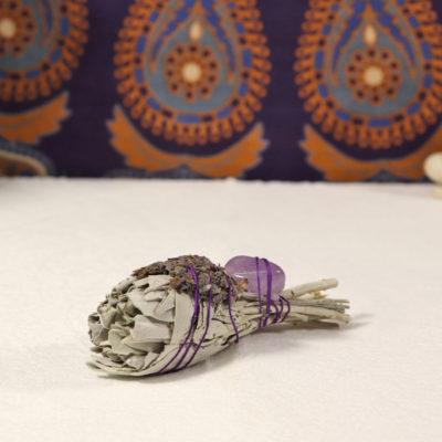 WSW3A - White Sage w Lavender & Amethyst