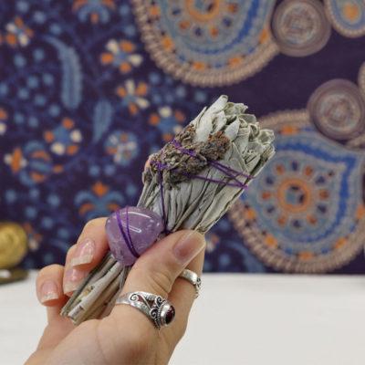 WSW3A - White Sage w Lavender & Amethyst g1