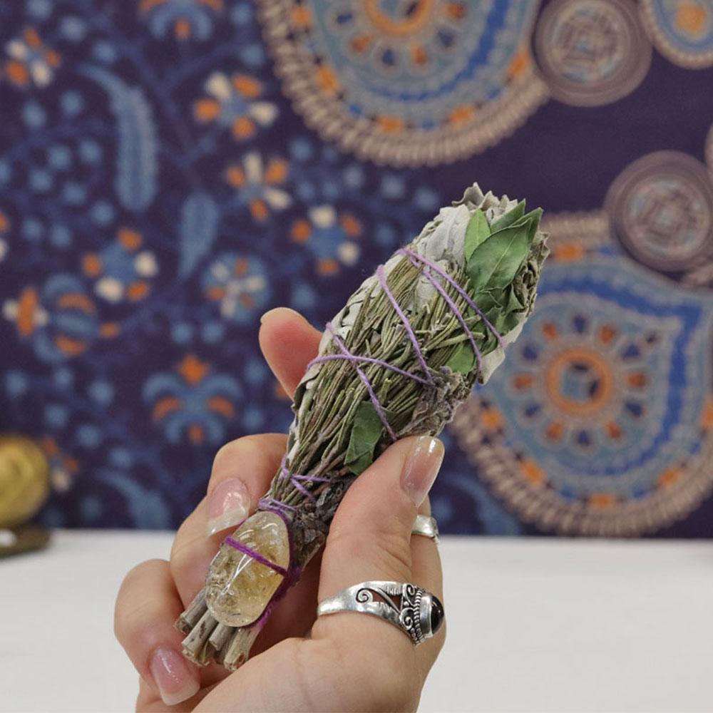 WSW3B - White Sage w Lavender & Citrine g1